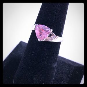 Elegant Pink And CZ 925 Sterling Silver Ring